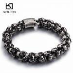 Kalen New Punk Brushed Skull Charm Bracelets For Men Stainless Steel Gothic Matte Black Skeleton Bracelet Male Pub <b>Jewelry</b> 2017
