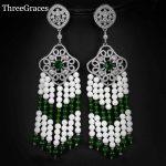ThreeGraces Unique Design Russian <b>Jewelry</b> Micro Pave White Green Natural Stone Women Big Long Tassel Earrings For <b>Wedding</b> ER225