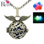 Fashion Womens <b>Antique</b> Bronze Branch Hollow Wings Locet Glow Beads Pendant Aromatherapy Essential Oil Diffuser Necklace <b>Jewelry</b>