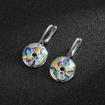 Hot sale 925 Sterling Silver Drop Earrings Colorful Enamel <b>handmade</b> Party Fashion <b>Jewelry</b> for women Accessories gift 2018