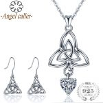 Angel Caller 925 Sterling <b>Silver</b> Celtics Trinity Knot Jewelry Sets Necklace Dangle <b>Earrings</b> Crystal CZ Pendants Fine for Women