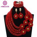 Beautiful <b>Handmade</b> Choker Necklace for Women Fashion Lace Gold Flowers African Wedding <b>Jewelry</b> Sets Free Shipping ABL623
