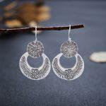 Chiang Mai original design <b>handmade</b> silver <b>jewelry</b> 925 sterling silver earrings earrings long fan carved female models