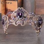 Olaru Good Quality Purple Rhinestone Big Queen Flower Crown Bridal Wedding <b>Jewelry</b> Tiara Crown Vintage Headband Accessories