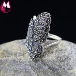 NEW 100% 925 Sterling Silver Ring <b>Handmade</b> Cute Fine Butterfly Wing Finger Ring Female Engagement Feather Gemstone <b>Jewelry</b> SR27