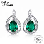JewelryPalace Charm Water Drop 1.7ct Created Emerald Clip <b>Earrings</b> For Women Solid 925 Sterling <b>Silver</b> Jewelry Nice Jewelry Gift