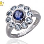 HUTANG Natural Iolite Aquamarine Gemstone Engagement Ring Solid 925 Sterling <b>Silver</b> Halo For Women Fine Stone <b>Jewelry</b> Gift New