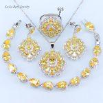L&B Sparkling Yellow Cubic Zirconia 925 <b>Silver</b> Color Jewelry Set Water Drop <b>Bracelet</b> Pendant Necklace Earrings 33.58Ring