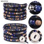 KELITCH <b>Jewelry</b> 1Pcs Black Soft Leather Wrap Synthetic Stone Beaded Bracelet <b>Handmade</b> Multicolor Lady Femme Girls Charm Bracelet