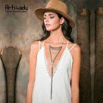 Artilady black velvet choker necklace vintage <b>antique</b> gold long tassel necklace for women boho <b>jewelry</b> dropshipping