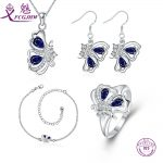 Sterling <b>Silver</b> 925 Jewelry Sets For Women Fine Blue Red Spinel Butterfly Cute Korean For Girls Women Valentines Day Gift