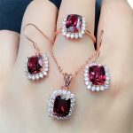 hot sale red garnet 925 sterling <b>silver</b> fine jewelry set in white rose gold color trendy natural gemstone ring <b>earrings</b> necklace