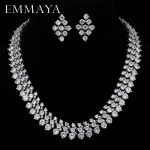 EMMAYA Luxury Bridal Jewelry Sets <b>Silver</b> Color Rhinestone Cz <b>Necklace</b> Wedding Engagement Jewelry Sets for Women