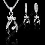 JEXXI New Brand Wedding African <b>Jewelry</b> Sets 925 Sterling <b>Silver</b> Austrian Crystal Water Drop Pendant Necklace Hoop Earrings Sets