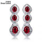 DreamCarnival1989 Trendy Earings Red Black Blue CZ Paved Long <b>Wedding</b> <b>Jewelry</b> Brinco feminino Zirconia Luxury Earrings 65917-01