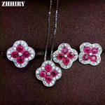 ZHHIRY Women Jewelry Sets Natural Ruby Gem Stone Genuine 925 Sterling <b>Silver</b> Ring <b>Earring</b> Pendant Chain Fine Jewelry