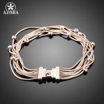 AZORA Seven Coil Rose Gold Color Stellux Austrian Crystal <b>Jewelry</b> Bracelets TS0026