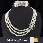 New <b>Necklace</b> Bracelet Set Austrian Rhinestone 3 Layers Luxury Flower Synthetic Pearls Bracelet <b>Jewelry</b> Set For Women MGC NH5120
