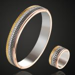 Zlxgirl jewlery colorful gold color rhodium <b>silver</b> bangle sets Brand Copper Bangl&ring wedding jewelry sets brand Love Bangles