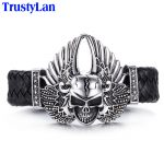 TrustyLan Hot Sales Stainless Steel Men's Bracelets Fashion Male <b>Jewelry</b> <b>Accessory</b> Skull With Wing Leather Bracelet Men Armband