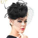 U7 Hair Accessories Women <b>Jewelry</b> European Style Veil Feather Fascinator Black Cocktail Party Wedding Hat Bride Headwear F302