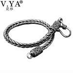 V.YA 4MM 5MM Thai <b>Silver</b> Male <b>Bracelets</b> 100% 925 Sterling <b>Silver</b> Snake Chain <b>Bracelet</b> for Men Vintage Style Fine Jewelry
