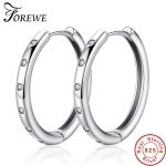 FOREWE Round Hoop Earrings Real 925 Sterling Silver Earrings for Women Cubic Zircon Crystal Circle Earrings <b>Fashion</b> <b>Jewelry</b> Gift