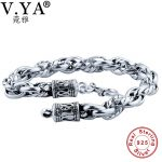 V.YA Handmade Heavy Men Bracelets Bangles Solid 925 <b>Sterling</b> <b>Silver</b> Chain Bracelet Men's <b>Jewelry</b> 18 19 20 21 22 cm