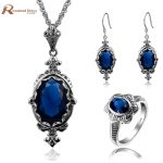 Cheap Fashion Jewelry Sets Blue CZ Stone Crystal Soild 925 Sterling <b>Silver</b> Jewelry Sets For Women <b>Earrings</b>/Rings/Pendant