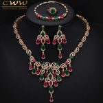 Gold Color African Natural Green And Red Stones Big <b>Necklace</b> Earring Bracelet And Ring 4 Pcs <b>Jewelry</b> Set For Wedding T255