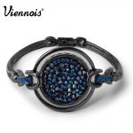 Viennois Vintage Gun Color Bracelets for Woman with Crystals Paved Round Bracelet & Bangles Luxury <b>Jewelry</b>