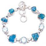 Natural Apatite and Blue Topaz Handmade Unique 925 Sterling <b>Silver</b> <b>Bracelet</b> 6-7 1/4″ Y1916