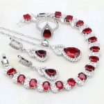 Gourd Red Rhinestone White Zircon 925 Silver <b>Jewelry</b> Sets For Women Adjustable Open Ring/<b>Necklace</b>/Earrings/Bracelet/Pendant