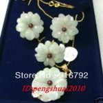 free shipping >>>>>Charming stone Flower Chocolate pearl 18KGP Pendant <b>Necklace</b> Earring Ring set