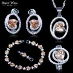 Trendy Attractive Champagne Yellow Heart Square Cubic Zirconia Crystal 925 Logo <b>Silver</b> Color <b>Bracelets</b> Jewelry Set For Women