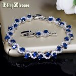 BlingZircons Charming Dark Blue Crystal Women Tennis Bracelets With Cubic Zirconia Stone 925 Sterling Silver <b>Jewelry</b> B016