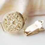 Solid 14ct Yellow Gold Clasp Filigree Round Box Safety Tab Buckle Au585 Oro <b>Jewelry</b> Findings for Pearl <b>Necklace</b>
