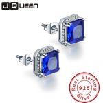 JQUEEN 3.8ct sapphire-jewelry 925 sterling <b>silver</b> <b>earrings</b> Princess Cut blue ear rings Brincos Hot Sale birthday gift for women