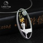 Lotus Fun Real 925 Sterling <b>Silver</b> Natural Moonstone Handmade Fine <b>Jewelry</b> Flower Vase Design Pendant without Necklace for Women