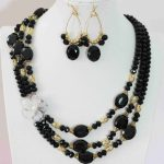 Newly black crystal earrins 3rows necklace abacus oval beads shell pendant <b>making</b> <b>jewelry</b> set 20-23″B1000