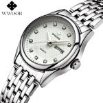 WWOOR Brand Ladies Watches Women Quartz Watch Luxury Date Clock Female <b>Silver</b> Stainless Steel Wrist Watch Relogio Feminino Gift