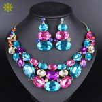 Fashion Indian Jewellery Crystal Necklace Earrings set Bridal <b>Jewelry</b> Sets for Brides Wedding Costume <b>Accessories</b> Decoration