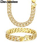 Davieslee Mens <b>Necklace</b> Bracelet Chain Miami Curb Cuban 316L Stainless Steel Gold-color 12mm LHS60