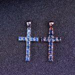 Natural blue sapphire pendant S925 <b>silver</b> Natural gemstone Pendant Necklace trendy Elegant Luxury cross women girl party <b>jewelry</b>