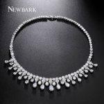 NEWBARK Top Quality Luxury Statement Maxi Necklace 29 Pcs Waterdrop CZ <b>Wedding</b> Engagement Bride <b>Jewelry</b> Necklaces Colar