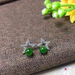 Natural green jasper Elegant earrings star stud earrings 925 <b>silver</b> natural gemstone earrings women girl fashion gift <b>jewelry</b>