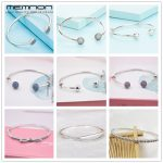 Memnon 925 Sterling <b>Silver</b> many kinds of open <b>bracelets</b> For women with ball clip fit Charms bead bangles DIY fine jewelry YSZ031
