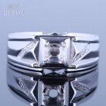 HELON 4.5-5.25mm Round Cut Semi Mount Engagement & Wedding <b>Sterling</b> <b>Silver</b> 925 Pave Real Natural Diamonds Men <b>Jewelry</b> Band Ring