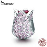 BAMOER Romantic 925 Sterling Silver Tulip Flower Petals Pink CZ Beads fit Women Bracelet & Necklaces DIY <b>Jewelry</b> <b>Making</b> SCC569