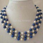 Fashion 3 Rows New charming White Pearl & Lapis Lazuli Clasp Necklace BV357 Beads <b>Jewelry</b> <b>Making</b> Natural stone Wholesale Price